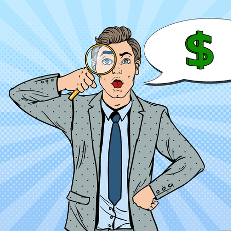 Pop Art Amazed Businessman with Magnifier Found Money. Vector illustration