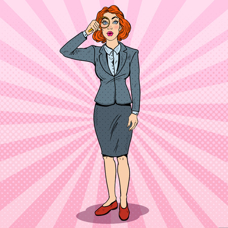 Pop Art Amazed Business Woman with Magnifier. Vector illustration Illustration