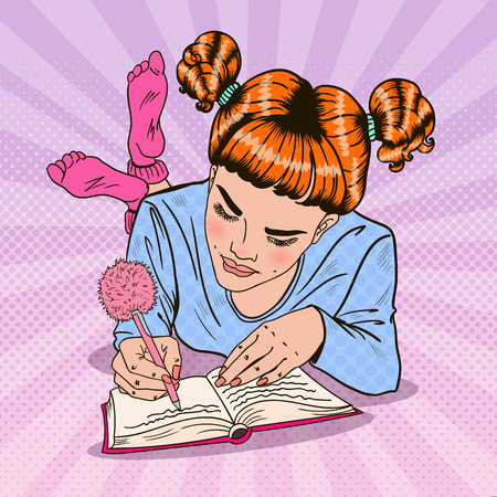 Pop Art Girl in Pink Socks Writing in Diary. Vector illustration