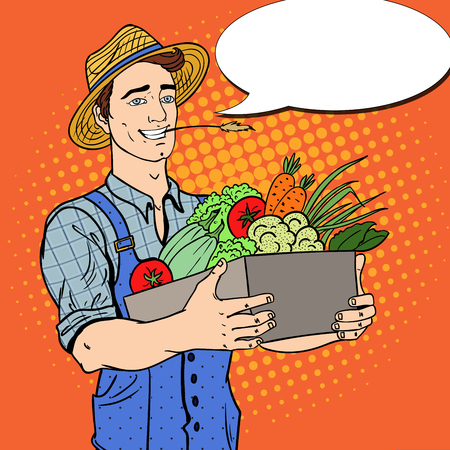 Pop Art Happy Farmer Holding Basket with Fresh Vegetables. Vector illustration