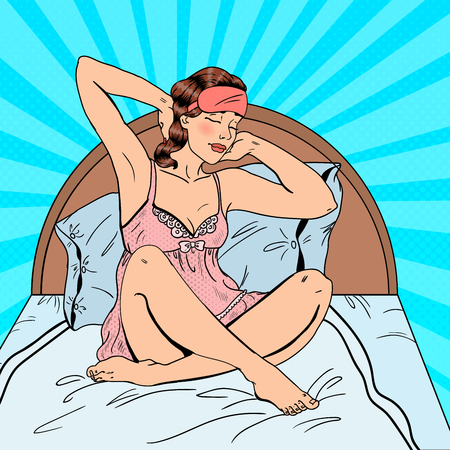 woman lying in bed: Pop Art Beautiful Woman Stratching Up after Wake Up in Bed. Vector illustration