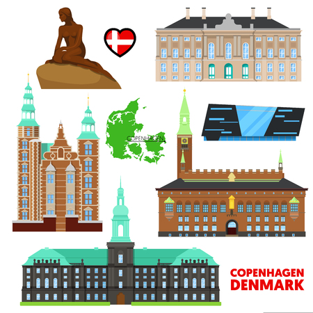 Denmark Copenhagen Travel Set with Architecture and Flag. Vector illustration