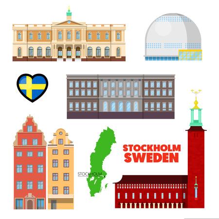 Svezia Stoccolma Travel Set con l'architettura e la bandiera. Vector Doodle