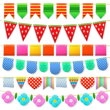 Party Celebration Colorful Flags Collection for Decoration. Vector illustration
