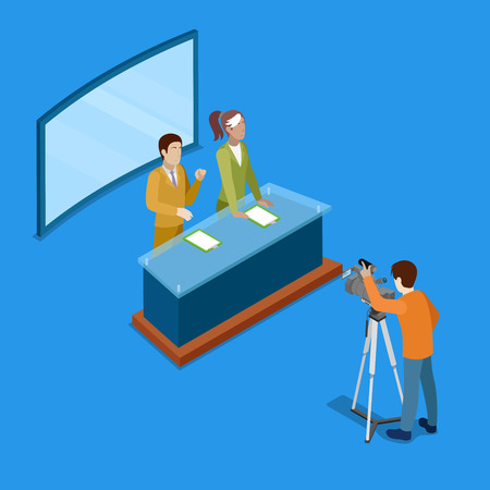 newsroom: Isometric Mass Media Concept with Live Newsroom. Vector illustration