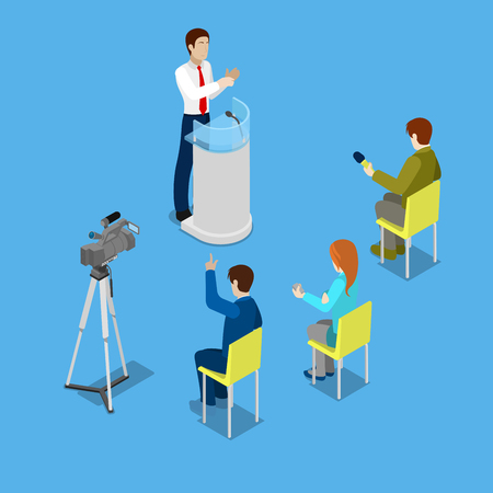 newsroom: Isometric Mass Media Concept with Reporters and Conference Room. Vector illustration Illustration