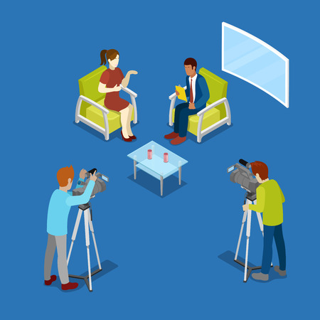 newsroom: Isometric Mass Media Concept with Newsroom and Video Operator. Vector illustration