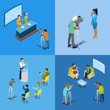 Isometric Mass Media Concept with Reporters and Journalists. Vector illustration Illustration