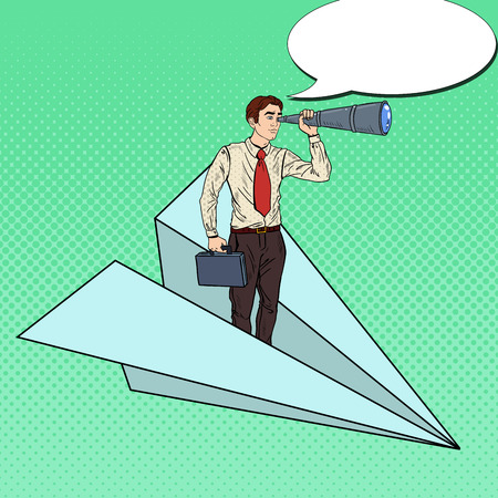 flying paper: Pop Art Businessman Flying Paper Plane and Looking in Spyglass. Vector illustration
