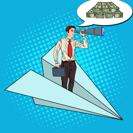 flying paper: Pop Art Businessman Flying Paper Plane and Looking for Money in Spyglass. Vector illustration