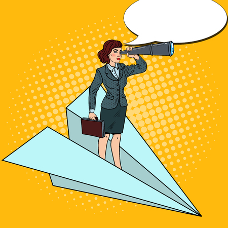 Pop Art Confident Business Woman Flying on Paper Plane with Spyglass. Vector illustration Illustration
