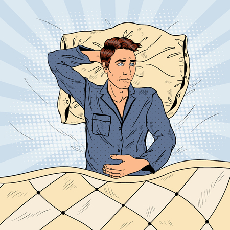 Pop Art Man in Bed Suffering Insomnia and Sleeplessness. Vector illustration Illustration