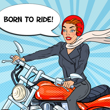 Pop Art Biker Woman in Helmet Riding a Motorcycle. Vector illustration Reklamní fotografie - 71977595