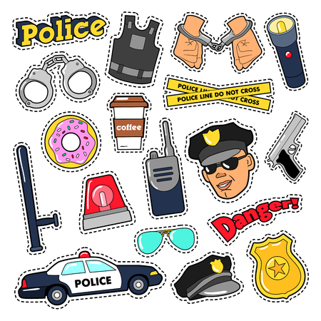 handcuffs: Police Security Stickers Set with Officer, Gun and Car. Vector doodle