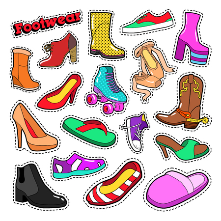 Womens Fashion Shoes and Boots Set for Stickers, Patches. Vector doodle Illustration