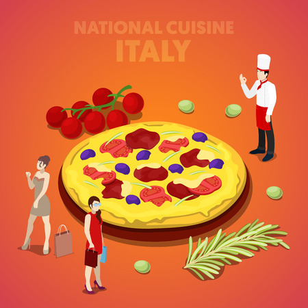 country kitchen: Isometric Italy National Cuisine with Pizza and Cook. Vector 3d flat illustration