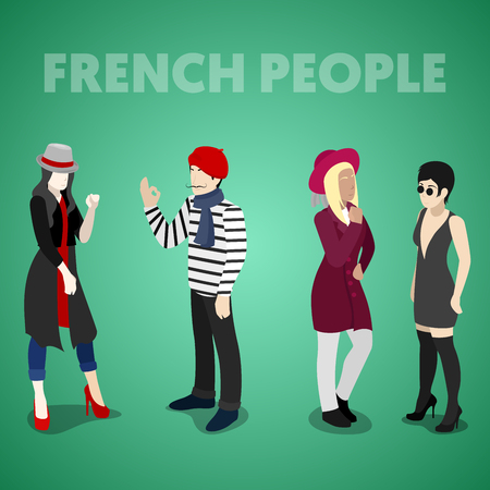 french culture: Isometric French People in Traditional Clothes. Vector 3d flat illustration