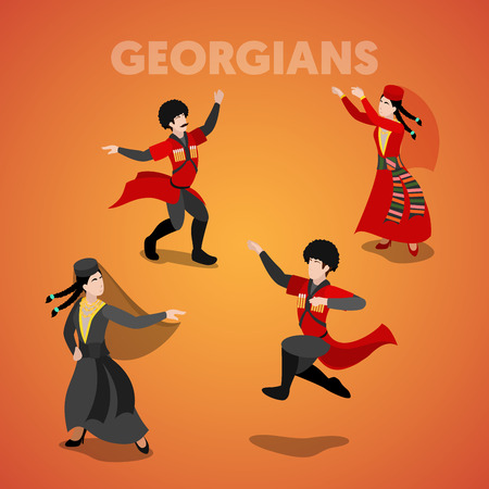 Isometric Georgian Dancing People in Traditional Clothes. Vector 3d flat illustration