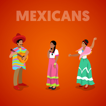 Isometric Mexican People in Traditional Clothes. Vector 3d flat illustration