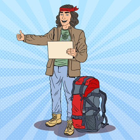 Pop Art Smiling Hitchhiking Man with Backpack. Vector illustration