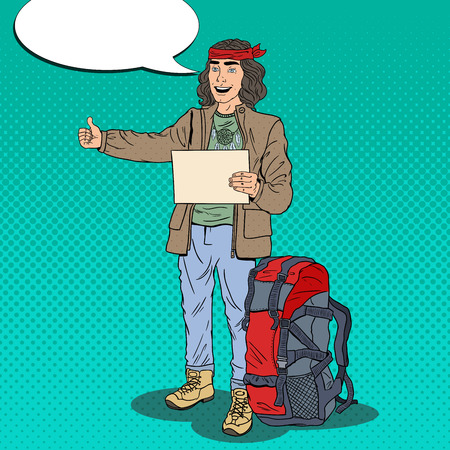 Pop Art Smiling Hitchhiking Man Hipster with Backpack. Vector illustration Illustration