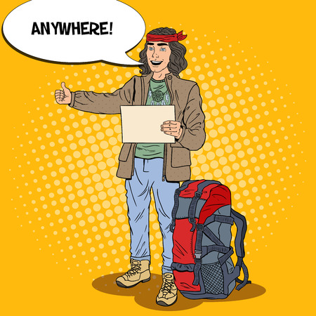 Pop Art Smiling Hitchhiking Man Travel with Backpack. Vector illustration