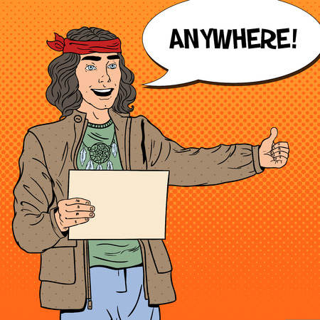 Pop Art Smiling Hitchhiking Hippie Tourist with Blank Sheet. Vector illustration