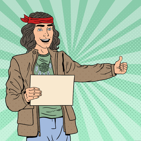 Pop Art Smiling Hitchhiking Hipster Tourist with Blank Sheet. Vector illustration