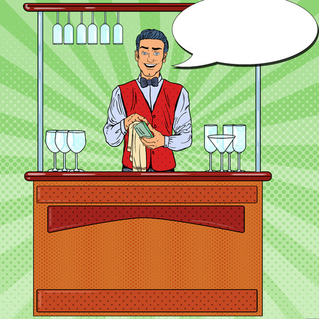 Pop Art Smiling Barista Wiping Glass in Nightclub Bar. Vector illustration
