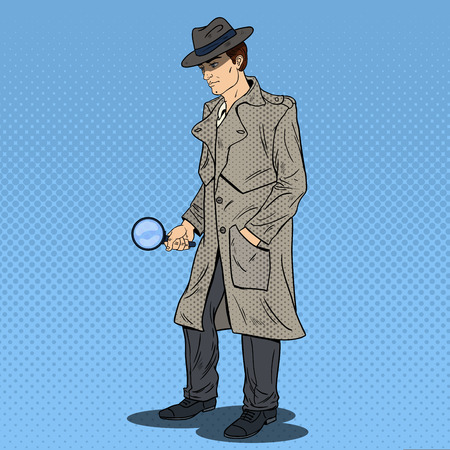 Pop Art Detective Searching with Magnifying Glass. Vector illustration