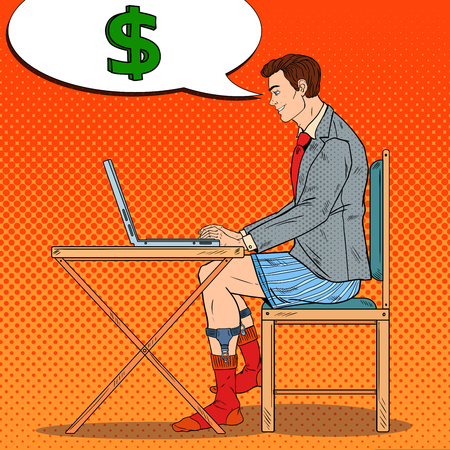 Pop Art Overworked Businessman Working Late at Home with Laptop. Business Overtime. Vector illustration