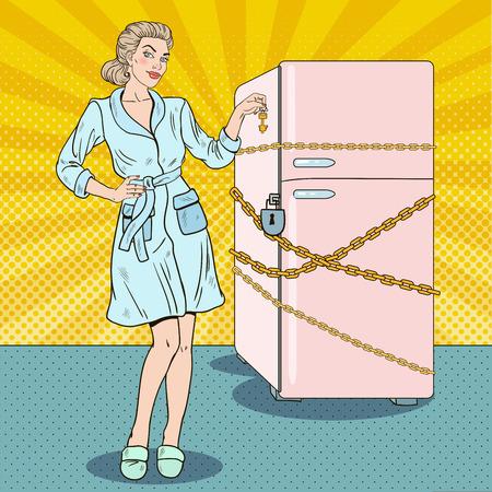Pop-art Mooie vrouw op dieet met koelkast ketting en slot. vector illustratie Vector Illustratie
