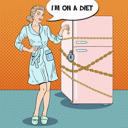 Pop Art Jonge Vrouw Op Dieet Met Gesloten Koelkast. Vector illustratie Vector Illustratie