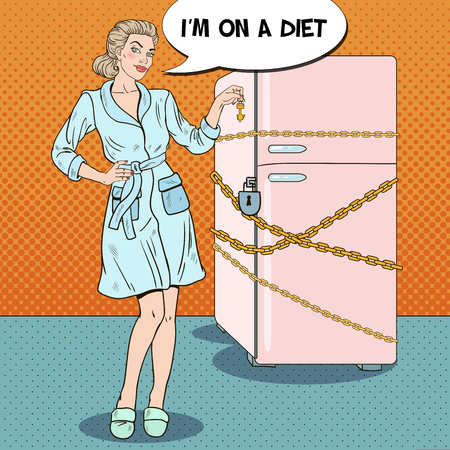 Pop Art Young Woman on Diet with Locked Fridge. Vector illustration