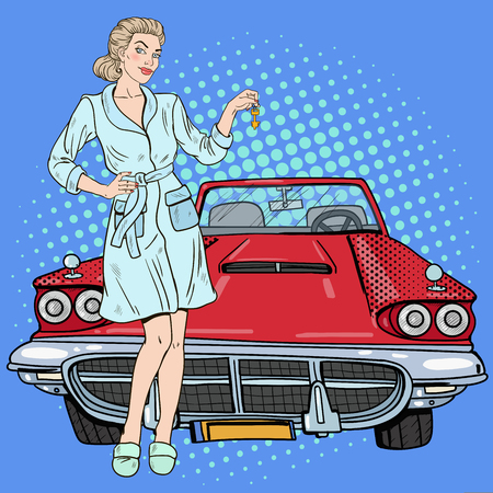 Pop Art Beautiful Woman Holding Car Keys. Vector illustration