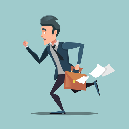 Businessman with Briefcase Late to Work. Man in Rush. Vector illustration Illustration
