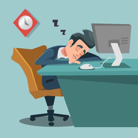 Sleeping Businessman. Tired Business Man at Work. Vector illustration Illustration
