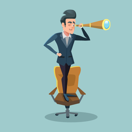 Successful Businessman Looking Through Spyglass. Business Perspective. Vector illustration