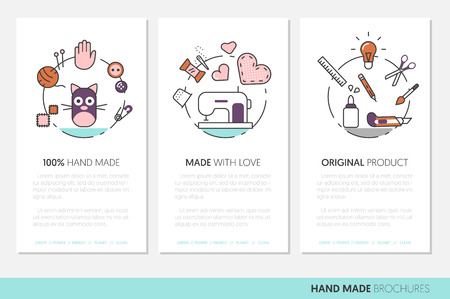 Hand Made Business Brochure. Sewing Crafting Linear Thin Line Vector Icons with Tools and Accessories