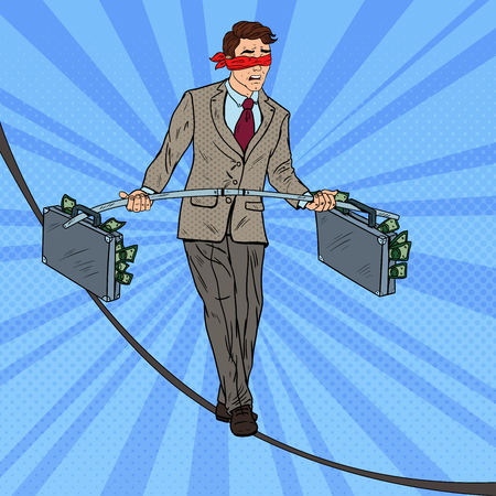 Pop Art Businessman Walking on the Rope with Two Money Briefcase. Investment Risk. Vector illustration