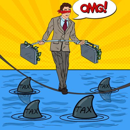 Pop Art Business Man Walking op het touw met twee geld werkmap Over de zee met haaien. Vector illustratie Stock Illustratie