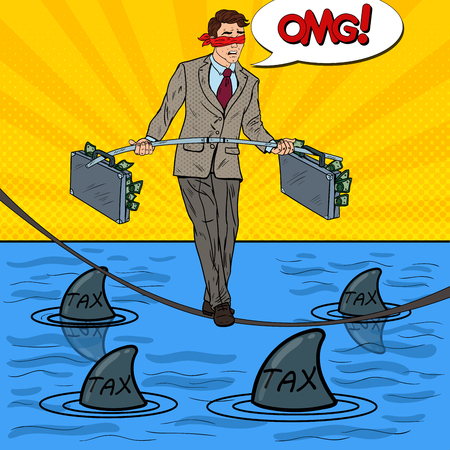 Pop Art Business Man Walking on the Rope with Two Money Briefcase Over the Sea with Sharks. Vector illustration Illustration