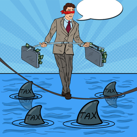 Pop Art Businessman Walking on the Rope with Briefcase Over the Sea with Sharks. Vector illustration Illustration