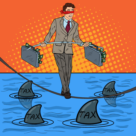 Pop Art Businessman Walking on the Rope with Briefcase Over the Sea with Sharks. Investment Risk. Vector illustration Illustration