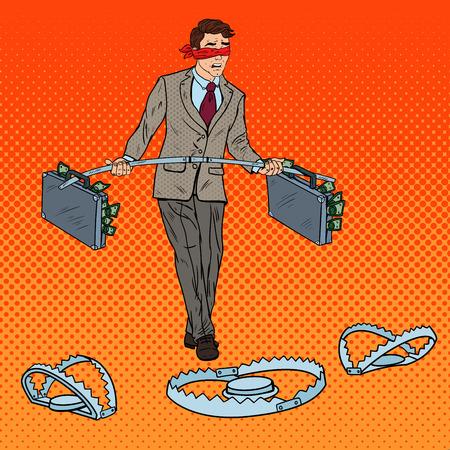 Pop Art Blindfolded Businessman Walking with Money Over the Traps. Investment Risk. Vector illustration Vektorové ilustrace