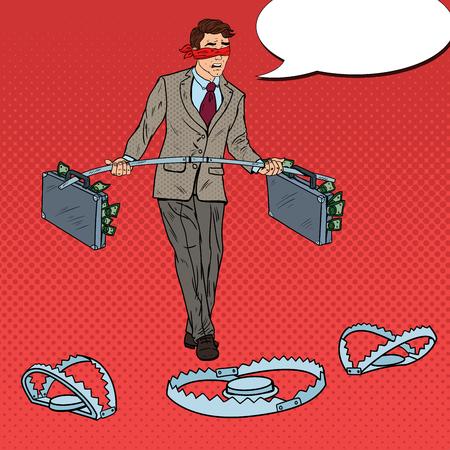 Pop Art Blindfolded Business Man Walking with Money Over the Traps. Investment Risk. Vector illustration Illustration