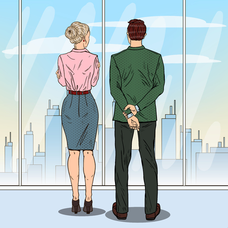 Pop Art Business People Looking at City Through the Window in Office. Vector illustration Illustration