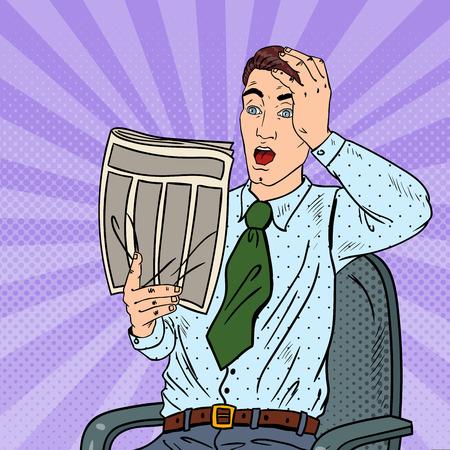 Pop Art Shocked Businessman Reading Newspaper. Bad News. Vector illustration