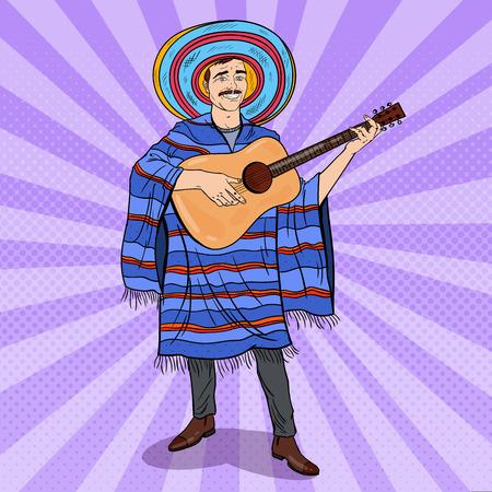sombrero de charro: Mariachi del arte pop que toca la guitarra. Hombre mexicano en Poncho y Sombrero. Ilustración del vector