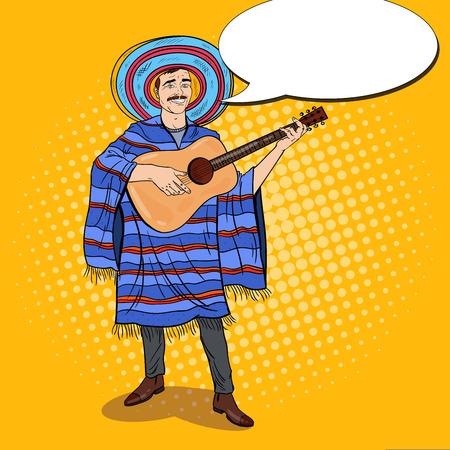 sombrero de charro: Pop Art Mariachi Hombre mexicano en Poncho y Sombrero tocando la guitarra. Ilustración del vector